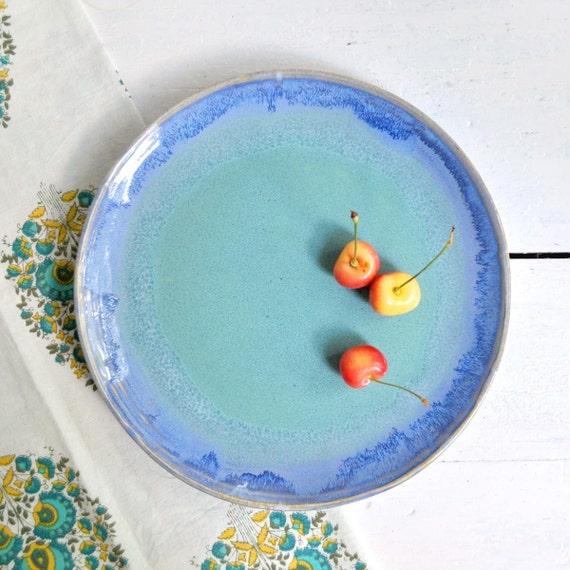 "ceramic platter 10""D blue turquoise ceramic plate wheel thrown"