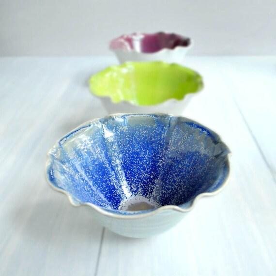 modern ceramic  Bowl   cyber monday etsyy Purple Hze and White glazes  4 cup Flower bowl minimalist