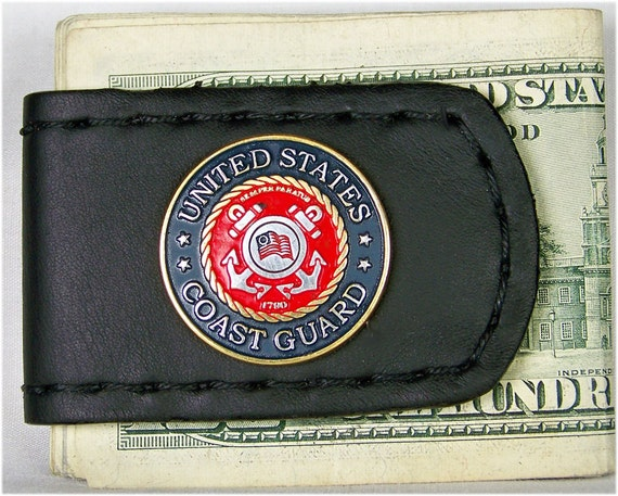 Handcrafted Leather Money Clip with US Coast Guard