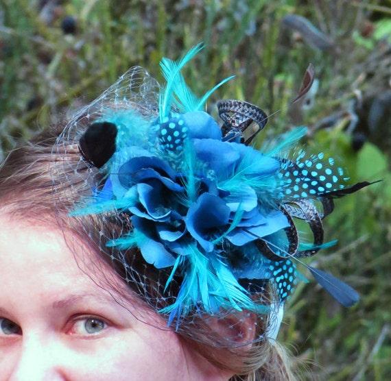Tiffani Blue Wedding Fascinator  Turquoise Wedding Fascinator Hat Netting PEACOCK