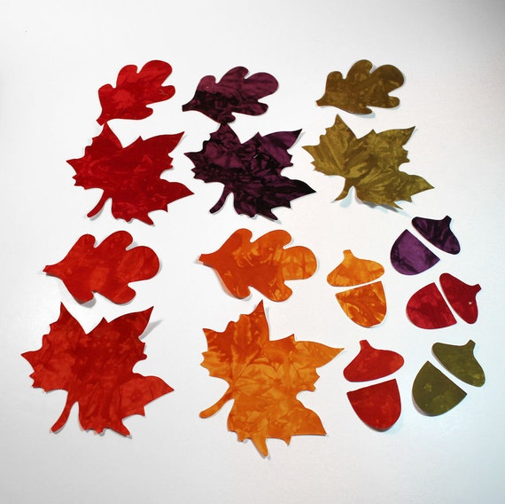 20 piece Fabric Applique Iron Ons - Hand Dyed Cotton Maple Leaves, Oak and Acorns