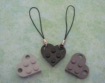 SALE 2 Friendship cell phone charms sharing 1 Black or Dark Gray heart LAST CHANCE
