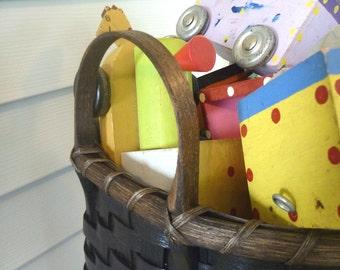 Wooden Bottom Toy Basket