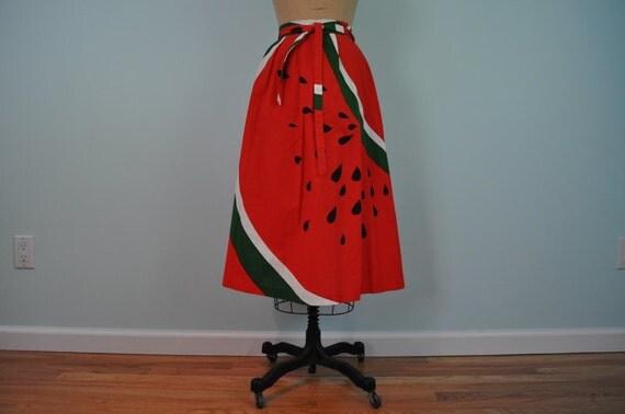 vintage watermelon novelty skirt Malia red M