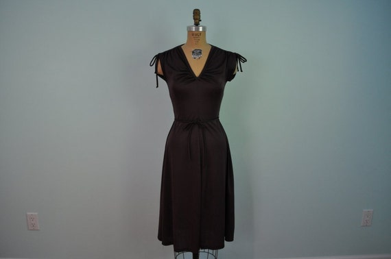 vintage 70s dress v neck S