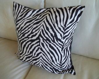 Zebra Stripe Throw Pillow Cover 18 x 18 Black & White