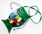 Girls Purse Frilly Fish Green Multi Colored Scales