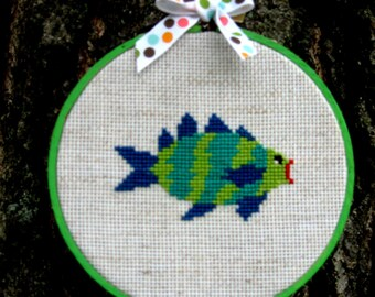 Wall Art Funky Fish Needle Art Hoop Art Cross Stitch Tropical Fish Hot Lips Blue Green