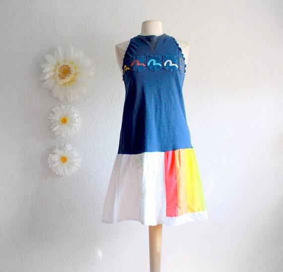 Navy Blue Upcycled Sundress Rainbow Drop Waist Dress Racer Back Women's Clothing Eco Friendly Clothes Size Medium 'KODACHROME'