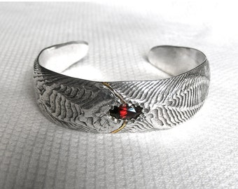 ON SALE!!! Dragon Cuff - Garnet Cuttlefish Bone Cast Bracelet