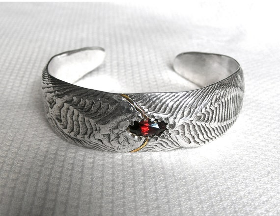 Dragon Cuff - Garnet Cuttlefish Bone Cast Bracelet