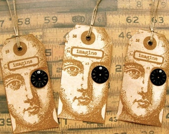 Watch Part Rhinestone Steampunk Tags