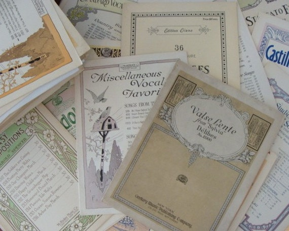 3 Sets of Scrumptious Antique Music Sheets