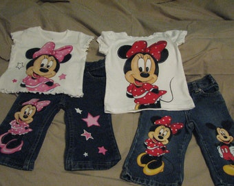 Custom Painted Disney Infant  6 m to 12 months in choice of Mickey, Minnie, Goofy, Pluto, Donald, Daisy shirt and 2 Character Jeans set