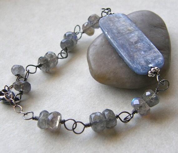 Kyanite Bracelet, Labradorite Bracelet, Denim Blue Bracelet, Rustic Bracelet