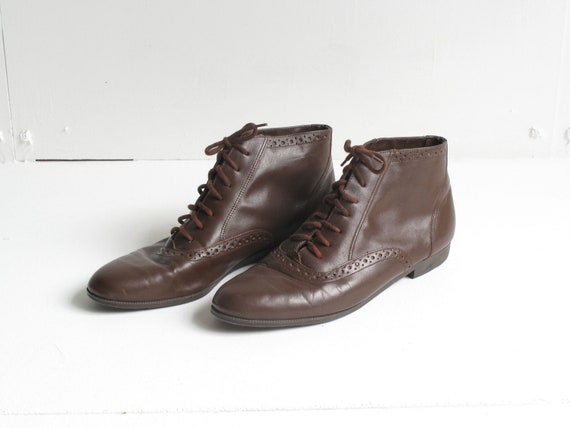 Brown Leather Lace Up Ankle Boots 7.5