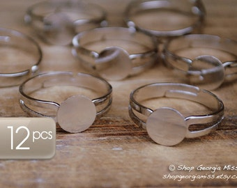 Adjustable Ring Base Silver 8mm Pad Band Design 12pcs