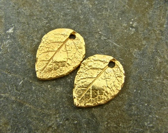 Gold Vermeil Charms - Tiny Natural Rose Leaf - Rustic Artisan 24K Gold Vermeil  Charms - One Pair - ctrlv