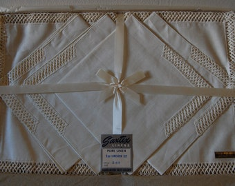 Vintage Pure Linen Napkins and Placemats New in Original Box