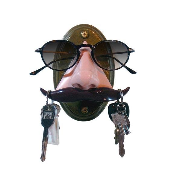 Mustache Key Hook Eyeglass Holder Wall mounted