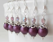 Plum Bridal Jewelry in Silver Pearl Dangle Earrings Bridesmaid Jewelry Sets Wedding Jewellery Plum Jewelry Bridesmaid Gift - FiveLittleGems