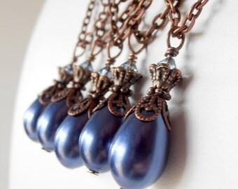 Navy Blue Pearl Drop Necklace Midnight Blue Bridesmaid Jewelry Sets Antiqued Wedding Jewellery Beaded Pendant Handmade