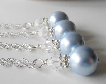 Bridesmaid Jewelry Light Blue Pearl Necklace Swarovski Crystal Pale Blue Wedding Jewelry Bridesmaid Necklaces Pearl Pendant