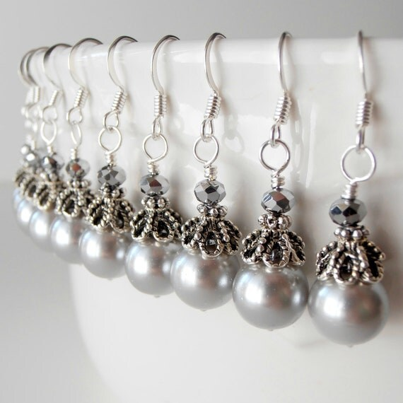 Grey Pearl Earrings, Bridal Pearl Drop Earrings, Bridesmaid Earrings, Silver Pearl Wedding Jewelry, Bridesmaid Pearl Dangles