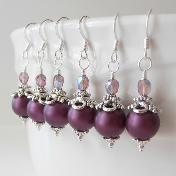 Plum Pearl Earrings Purple Bridesmaid Earrings Plum and Silver Wedding Jewelry Beaded Dangles Handmade