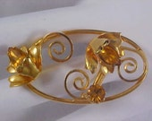 Free Ship ~ Amber Rhinestones & Gold Plate Ornate Brooch