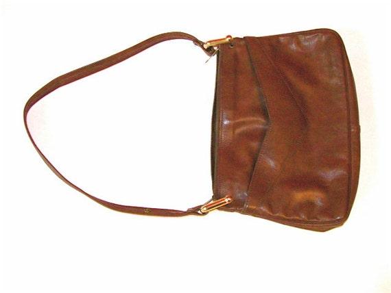 30buckSALE - Leather Chevron Pocket Equestrian Gold Loop Purse - Camel Brown Tan - Fits iPad