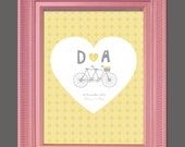 Bicycle for Two, DIY Fingerprint or Signature Guest Book Printable: 16x20