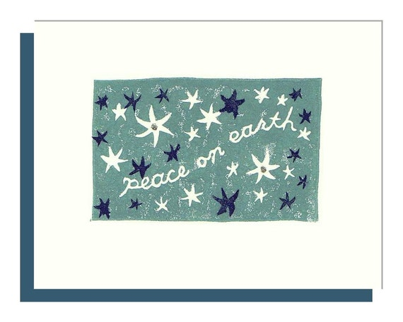 Peace on Earth - Hand Printed Linocut