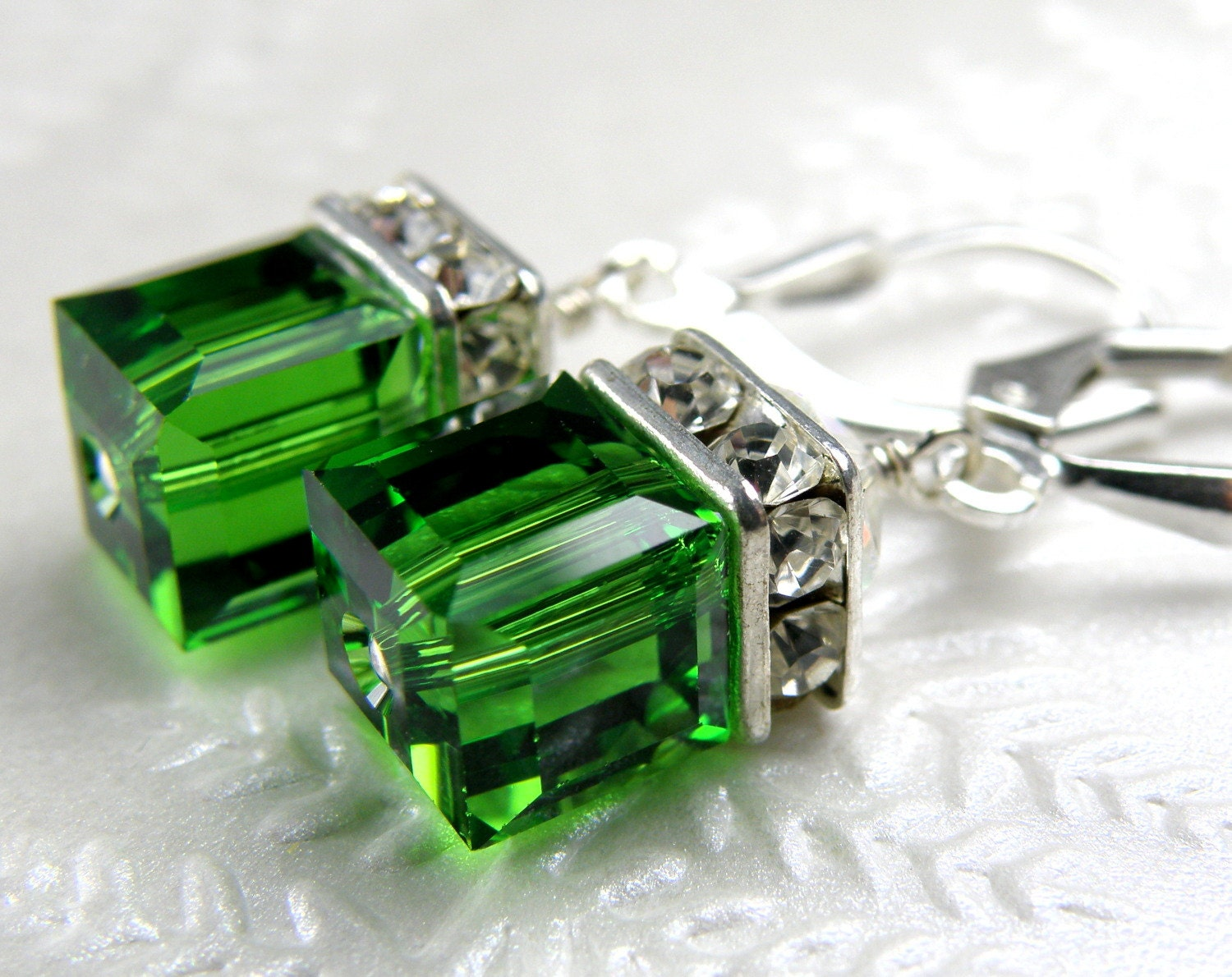 Light Emerald Crystal Earrings Green Drop Bridesmaid