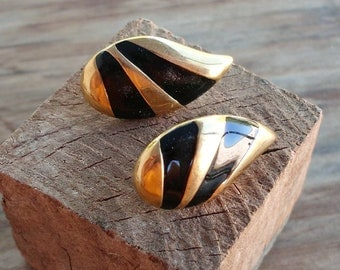 Black and Gold Teardrop Monet Post Earrings