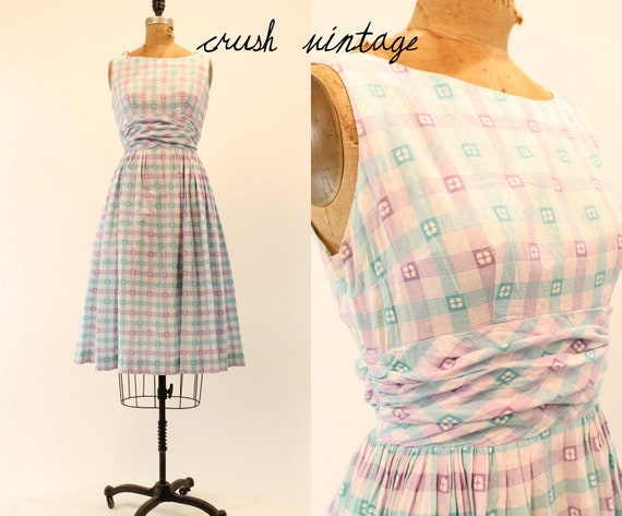 50's Vintage Dress Small /  1950s Cotton Dress / Garden Party Frock