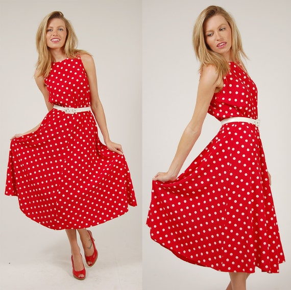 Vintage 80s POLKA DOT Dress Red RETRO Rockabilly Midi Medium