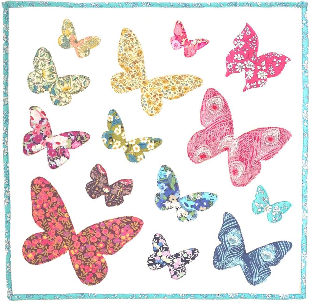 Pattern Butterflies Flutter Raw Edge Applique Quilt Block Or