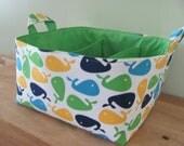 SALE Fabric Diaper Caddy - Fabric organizer storage bin basket - Urban Zoologie Whales - Nursery Decor - Baby Gift - RTS - Last one