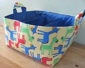 SALE Fabric Diaper Caddy - Fabric organizer storage bin basket - Urban Zoologie 3 Donkeys in Primary