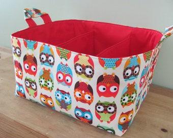 NEW Fabric Diaper Caddy - Fabric organizer storage bin basket - Bright Owls