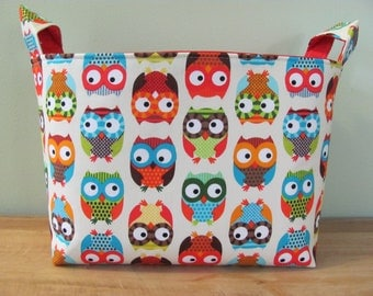 LARGE Fabric Organizer Basket Storage Container Bin - Size Large - Bright Owls