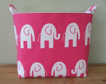 XL EXTRA LARGE Fabric Organizer Basket Storage Container Bag Bucket Toy Bin - Home Decor - Nursery - Kids Room - White/Pink elephants Canvas