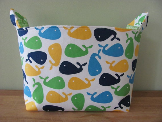 LARGE Fabric Organizer Basket Storage Container Bin - Size Large - Urban Zoologie Whales