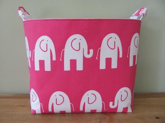 NEW XL Fabric Organizer Basket Storage Container Bin - Extra Large - White/Pink elephants Canvas