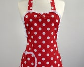 Valentines Day Apron Cute Womans Apron (Holiday Edition) Sweet Heart Womans Full Apron  (Red)