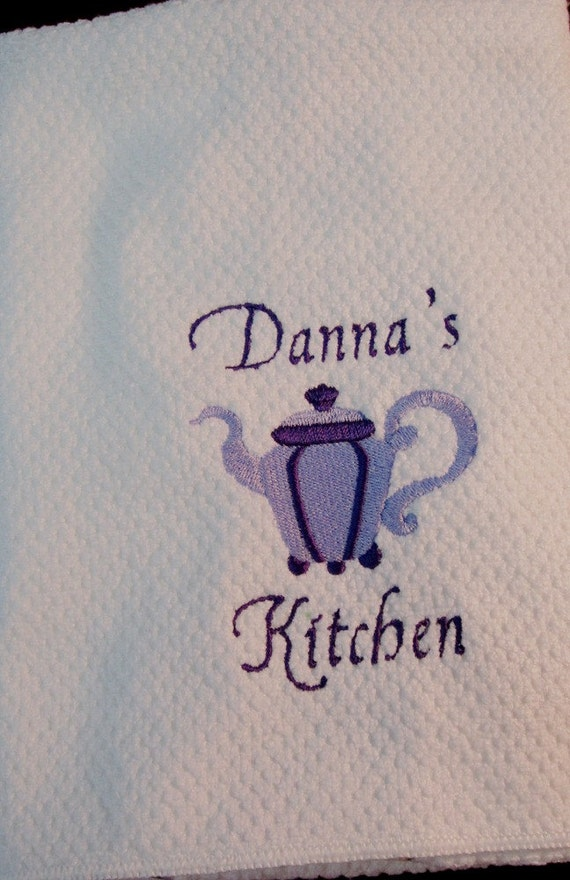 Embroidered Kitchen Towel- Teapot-Personalized