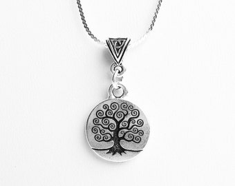 Celtic Tree of Life Necklace - on Sterling Silver Chain with Celtic Bail