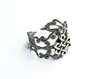 Celtic Ring  - Gunmetal Filigree Ring with Celtic Eternity Knot
