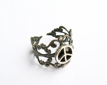 Peace Sign Ring  - Gunmetal Vintage-Style Filigree Ring with Peace Sign Charm, Adjustable